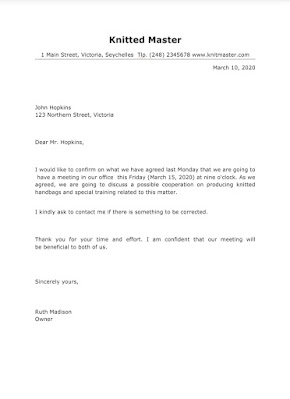 Meeting Confirmation Letter
