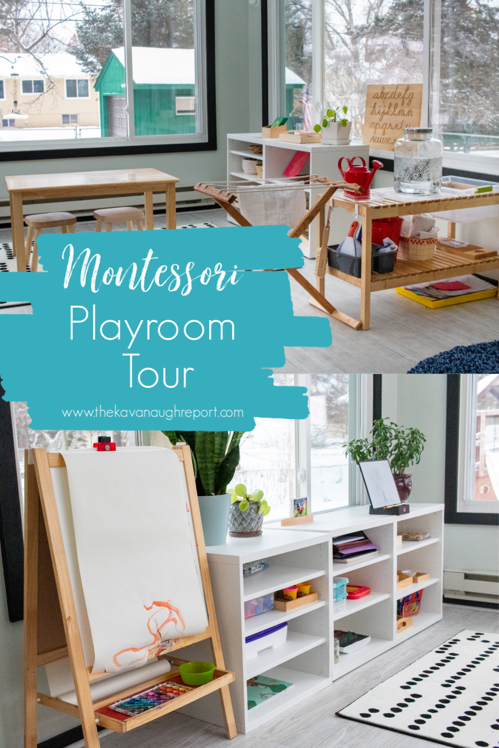A look at our multi-use, multi-age Montessori playroom, including art area and Montessori baby space.