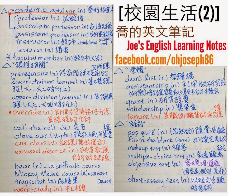 《喬的人生會談室》- Joseph Chen's Talking Room: [語言] 英文學習之校園主題式單字(2):教師教授類,課程相關 ...