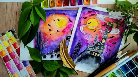 Paint an Easy Halloween Haunted House with Watercolors