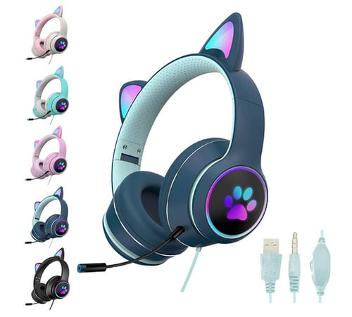 SHANGH AKZ-022 Cute Cat Ear Gaming Wired Headset