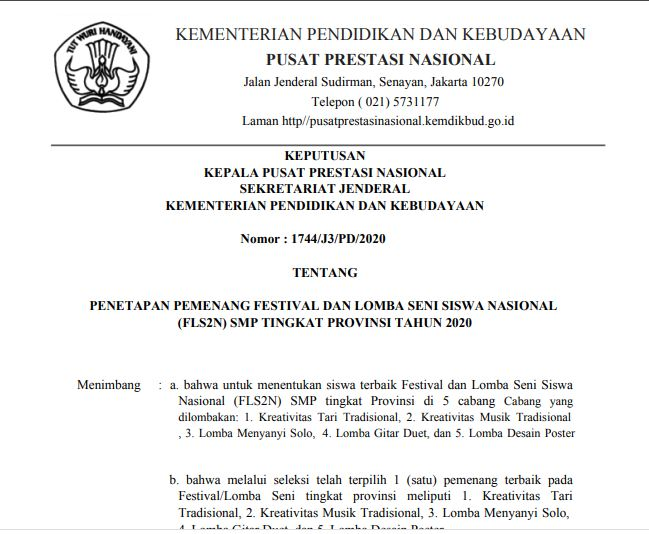 Download SK Nomor : 1741/J3/PD/2020 dan Nomor : 1744/J3/PD/2020 Tentang Penetapan  Pemenang dan Peringkat Peserta Tingkat Provinsi FLS2N Daring SMP Tahun 2020