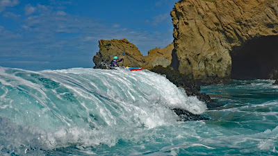 Whitewater ocean kayaking is also called rock gardening and is a form of extreme sea kayaking done in whitewater kayaks.  The Mendocino Coast of California has some of the best rock gardens and ocean kayaking in the world.