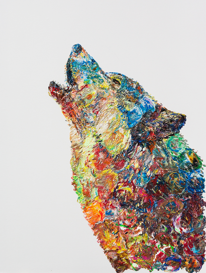 Wolf howling painting,Wolf howling heavy textured painting, mixed Wolf howling, unique Wolf howling painting on canvas, anatoli Wolf howling, anatoli voznarski, 3D Wolf howling painting,Wolf howling oil, animal oil painting, abstract wolf, oil wolf