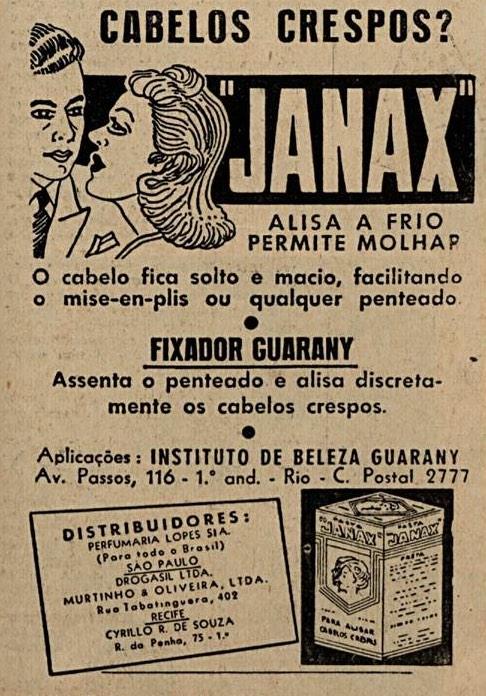 Propaganda antiga de 1957 do Fixador Guarany e do Janax para alisar cabelos