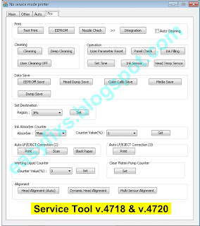 Canon Service Tool v.4718 & v.4720 Button Functions for Pro tab
