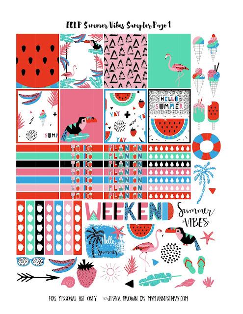 Summer Vibes Sampler Page 1 for the Vertical Erin Condren on myplannerenvy.com
