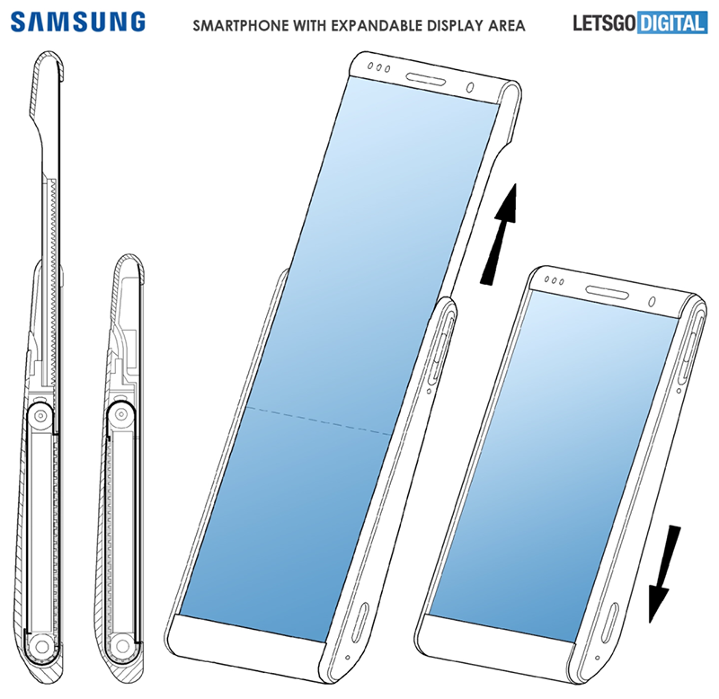 An image of Samsung's rollable phone patent