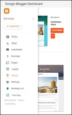 Google Blogger dashboard menu