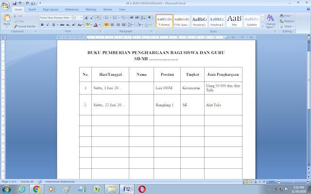Contoh format buku penghargaan guru dan siswa