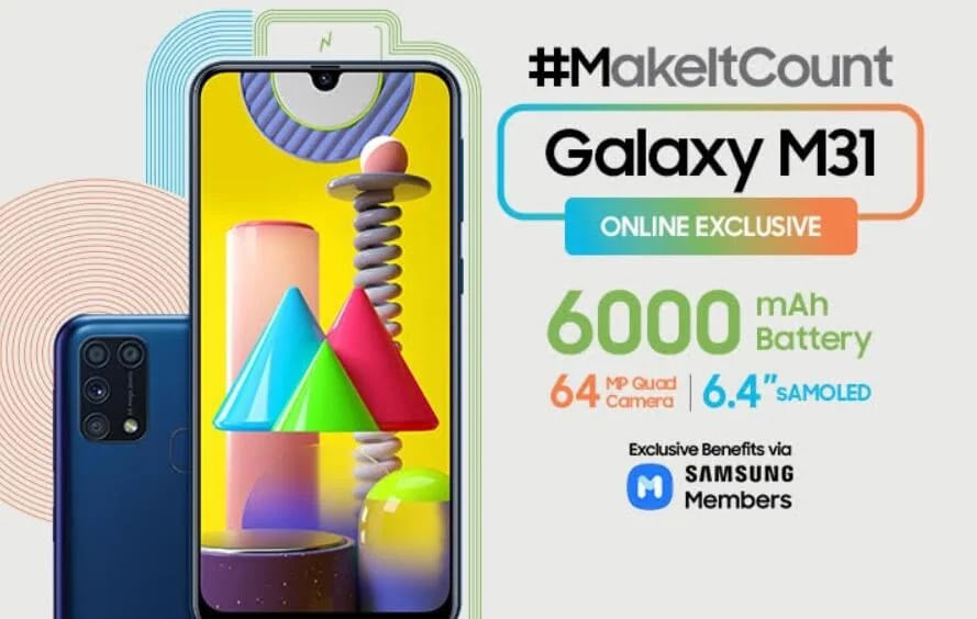 Samsung Galaxy M31 with 64MP Quad Camera and 6,000mAh Battery Launches in PH for Only Php13,990