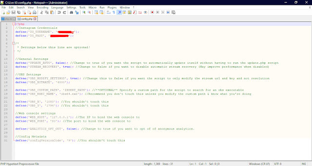 edit file config.php