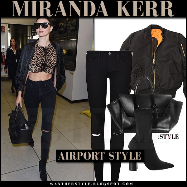 Miranda Kerr in black bomber jacket alpha industries, leopard top and black jeans frame denim what she wore milan fashion week
