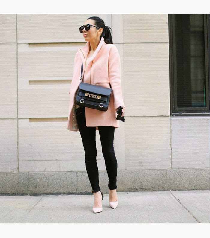 Wearing a Pastel Pink Coat for Fall/Winter 2014