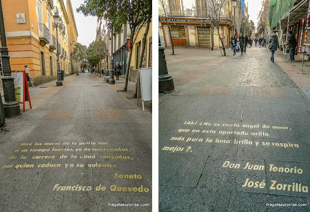 Versos de José Zorrilla (Século 19) e de Quevedo (Século 17) na Calle de Huertas, Barrio de las Letras, Madri