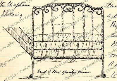 Drawing of a bed by Reverend JAG Birch, 5th Battalion, Durham Light Infantry (D/DLI 7/63/2(103))