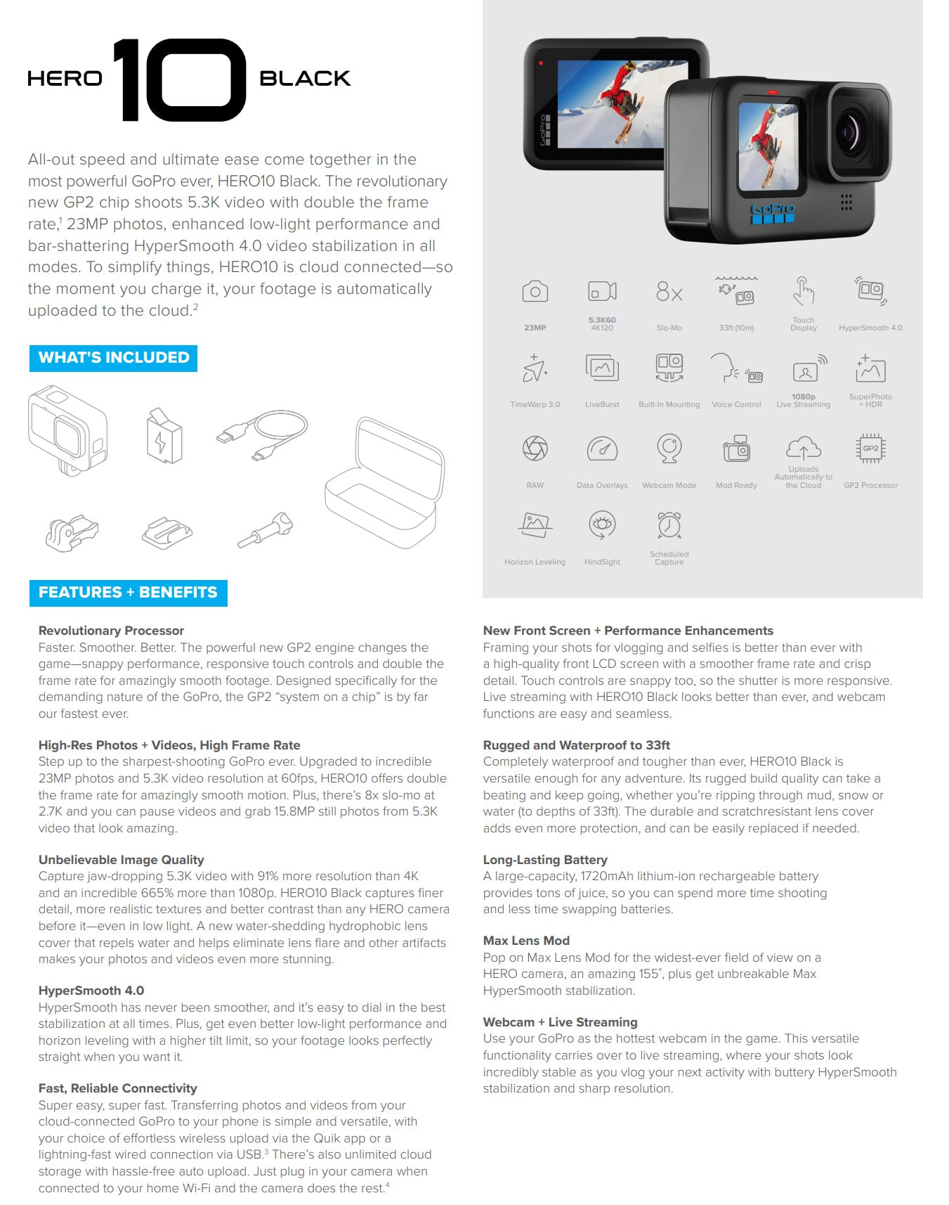 GoPro Hero10 Black Specification Sheet