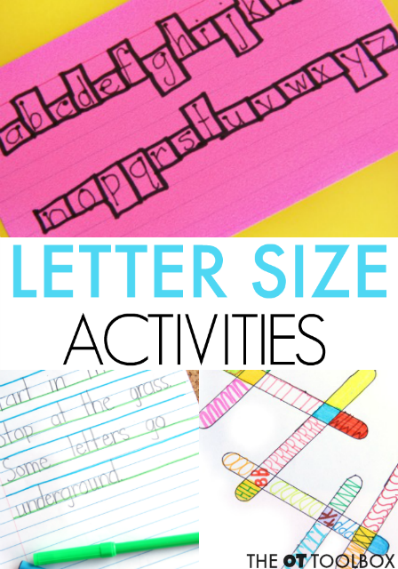 Size awareness activities for legibility and neat handwriting
