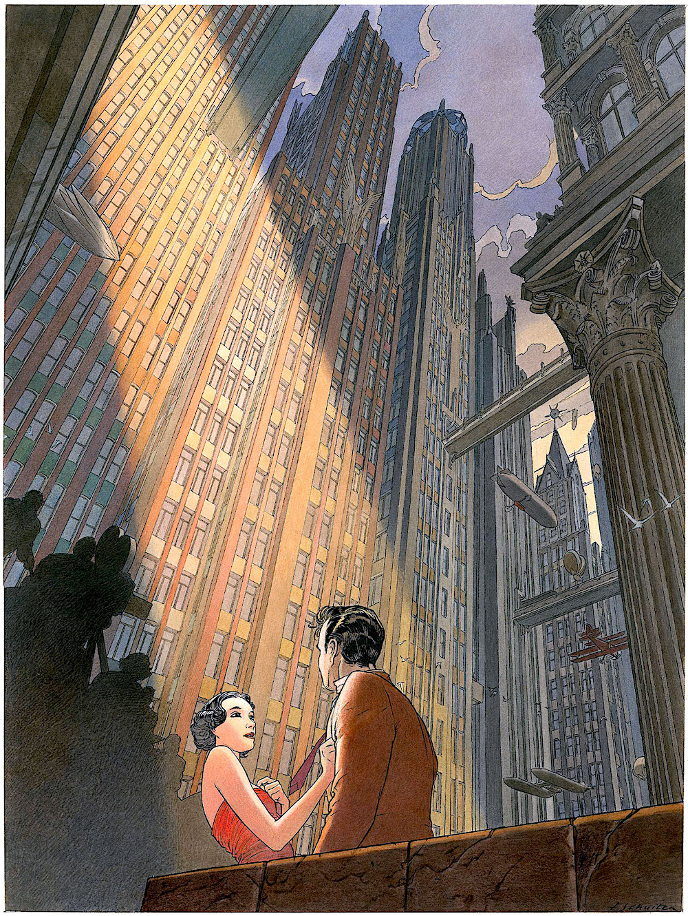 François Schuiten, a movie set in a big city, seen from a worms-eye view