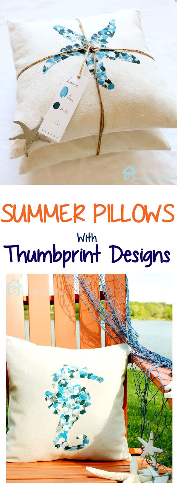 diy - summer pillows with thumbprint designs