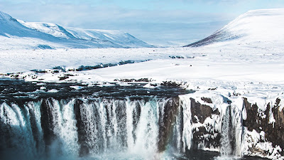 Waterfall HD Wallpaper, Snow, Aerial View, Landscape