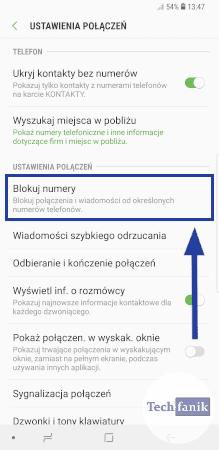 Ustawienia połączeń w telefonie Samsung