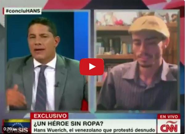 """Fernando del Rincón entrevistando a Hans Wuerich """"el nudista de la marcha"""""""