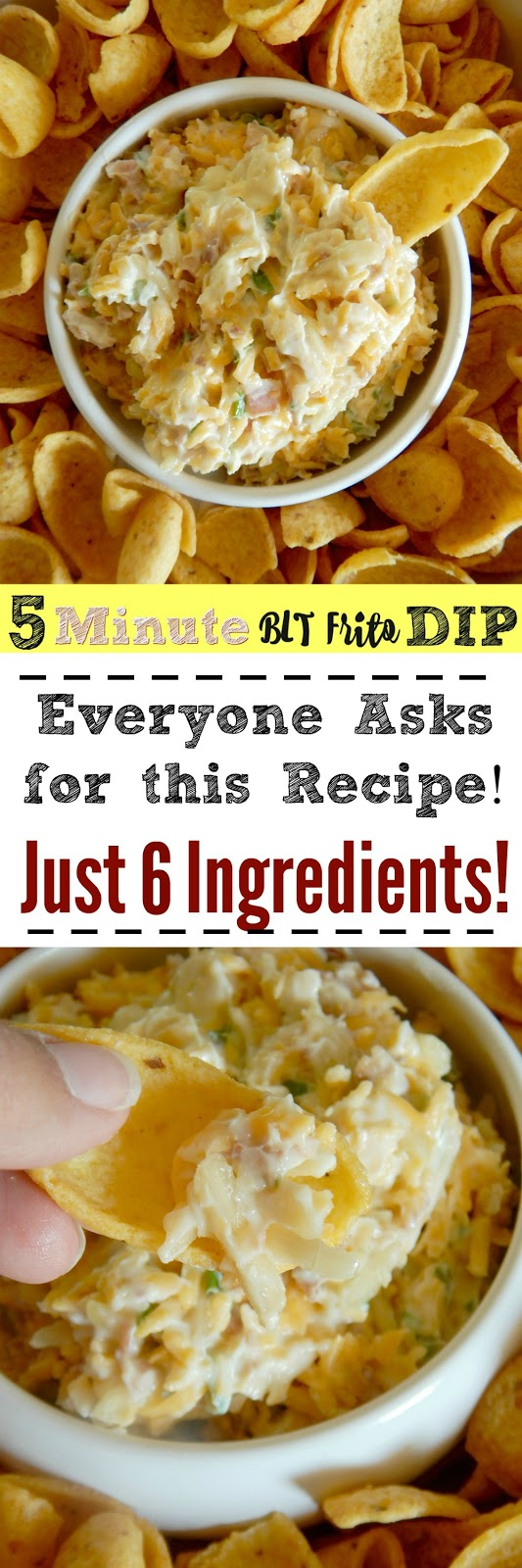 5 Minute BLT Frito Dip...the perfect summer snack!  Served great poolside, at a barbecue or for a potluck! (sweetandsavoryfood.com)