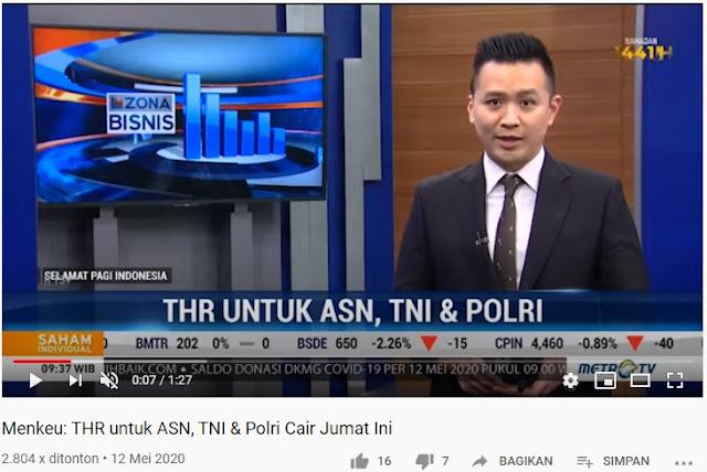 Menkeu: THR untuk ASN, TNI dan Polri Cair Jumat Ini