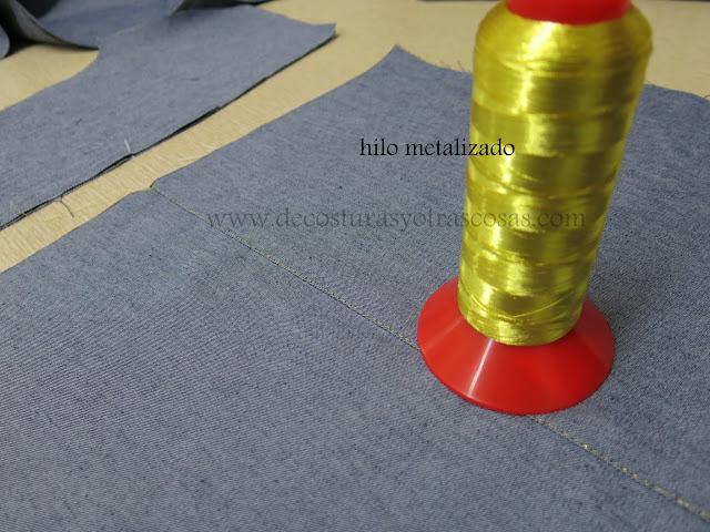 como coser con hilo metalizado