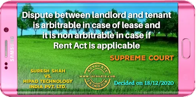 Dispute between landlord and tenant is arbitrable in case of lease and it is non arbitrable in case if Rent Act is applicable