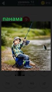 панама на ребенке который ловит рыбу на берегу с удочкой