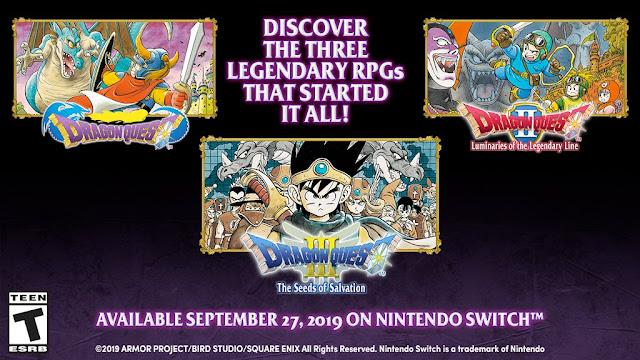 Dragon Quest I, II & III serão lançados no Switch no dia 27 de setembro