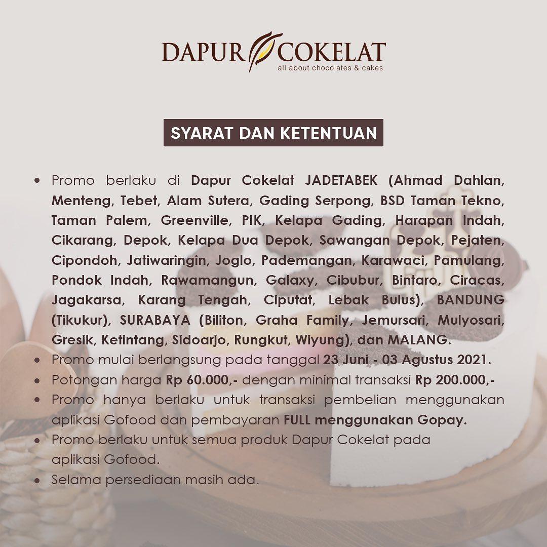 DAPUR COKELAT Promo GOFOOD BERMAKNA – DISKON Rp 60.000 2