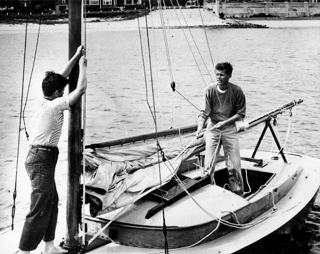 Ted and John Kennedy on the Wianno Senior Victura, summer 1946
