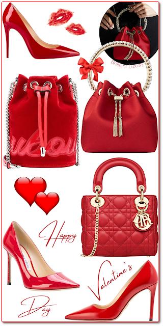 Happy Red Valentine's Shoes & Bags #brilliantluxury