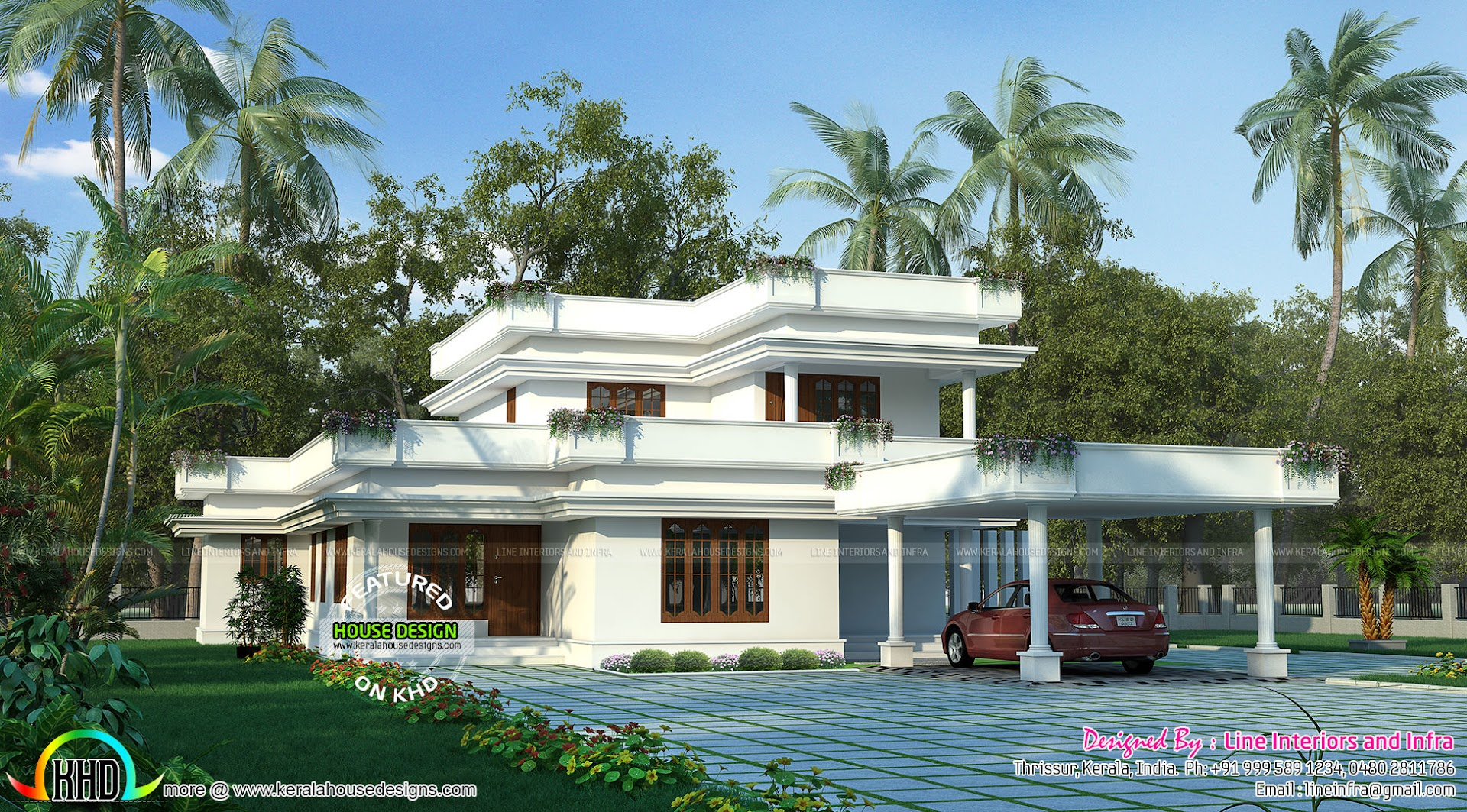Beautiful Flat Roof Style Home 333 Sq Yd Kerala Home
