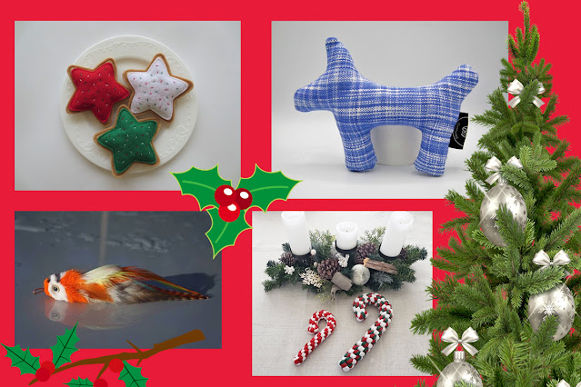 Artisan guide to holiday gifts for dogs and cats. Pictured, cat cookie toy, dog squeaker toy, dog rope toy, realistic parrot cat toy