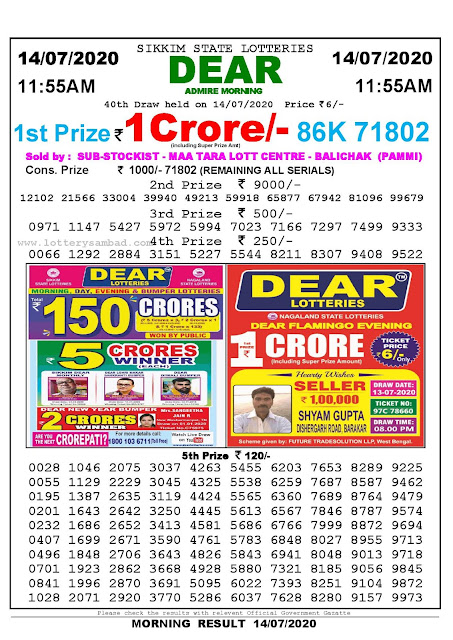 Sikkim State Lotteries 14-07-2020 Lottery Sambad Result 11:55 AM
