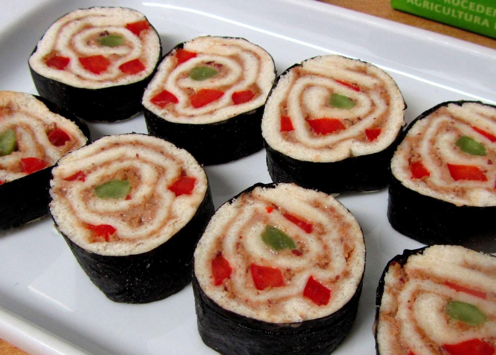 cocina con luz verde Facilsimo rollitos sushi de pan de molde