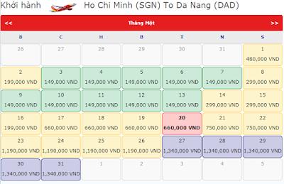 Bảng giá vé máy bay tết đi Đà Nẵng hãng Vietjet Air