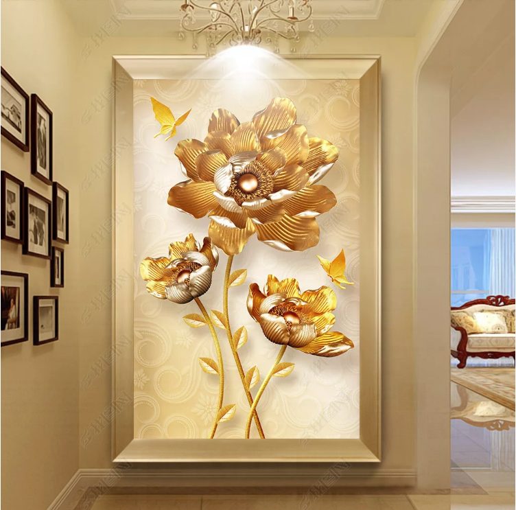 Tranh Hoa Sen Vàng Trang Trí Sảnh Phòng Khách