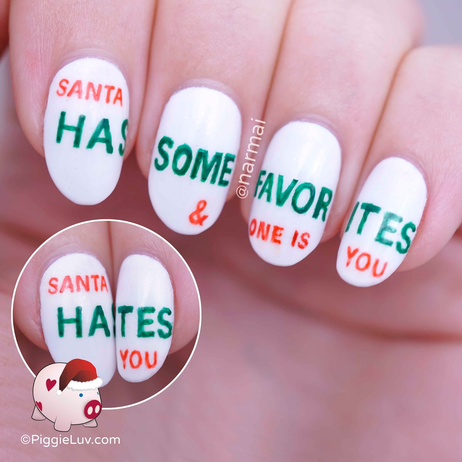PiggieLuv: Secret Christmas message nail art