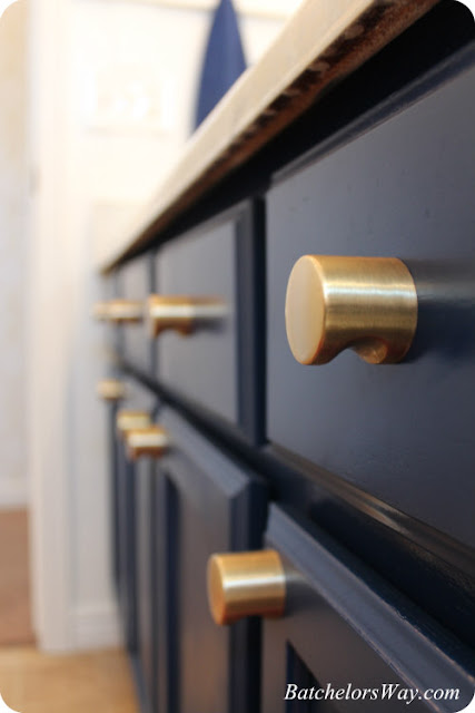 Brass Hardware Blue Cabinets