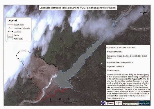 Sunkoshi Landslide from Satellites
