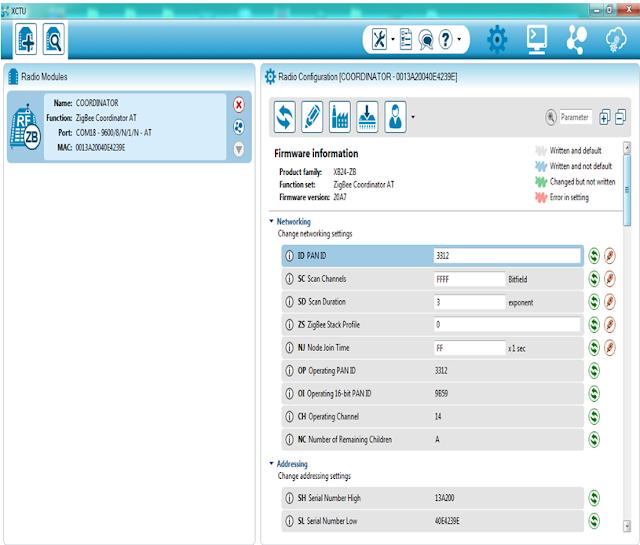 Radio device configuration window in XCTU software to configure Zigbee (Xbee)
