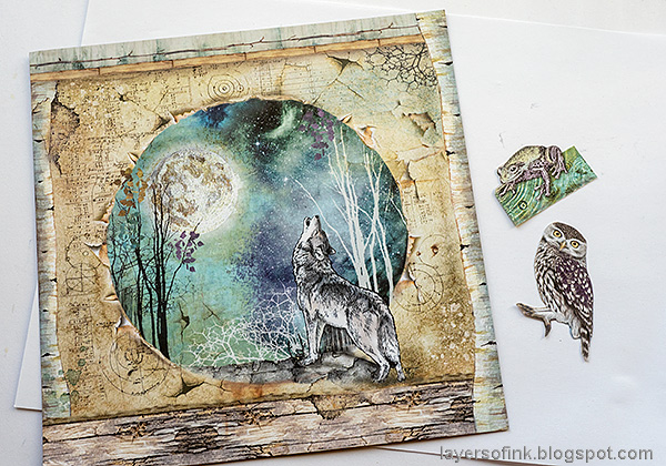 Layers of ink - Magical Nature Wall-Hanging Tutorial by Anna-Karin Evaldsson. Stamperia Cosmos papers.