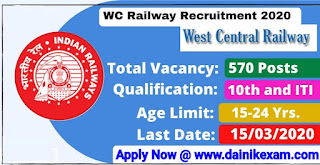 Railway WCR (570) Apprentice Posts Recruitment 2020, Apply For 570 Trade Apprentice Posts 2020