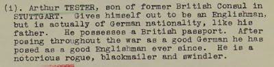 BAOR report menioning Arthur Tester dated 13 January 1926 (from Tester's MI5 file in Kew)