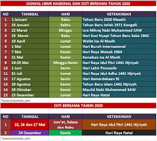 Jadwal Libur Nasional dan Cuti Bersama Tahun 2020